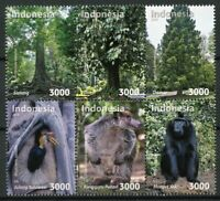 Indonesia 2018 MNH Fauna & Flora 6v Block Trees Monkeys Birds Animals Stamps