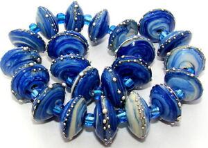 "Sistersbeads ""E-Denim"" Handmade Lampwork Beads"