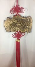 Gold Dragon Plaque Red Chinese Knot Tassels Hanging Asian Decor