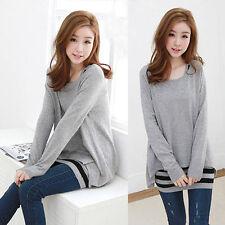 Korean Fashion Womens Striped 2pcs Vest Dress & Casual Tops Blouse T-shirt M/L