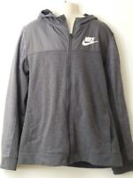 BOYS NIKE SIZE 13-15 YEARS GREY HOODED ZIP UP TRACKSUIT JACKET TOP
