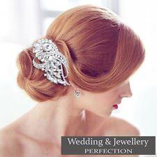 Flor Nupcial Boda Peine de Cabello Clip De Cristal Estrás Diamante Joya de diapositivas Reino Unido