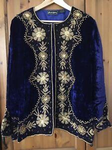 Vintage Penny Lane Velvet Embroidered Jacket 12 14 16 Boho Ethnic 70s 60s