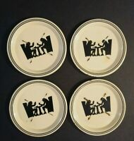 Vintage Tip Tray Tin Coasters Set 2 Men Smoking a Pipe Sitting in Chairs Barware