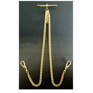 Stunning Double Albert Gold Plated 9ct Pocket Watch Chain Standard High Quality.