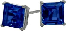 1.20Ct. Created 5mm Square Sapphire 14K WG Stud Earrings