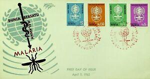 INDONESIA 1962 WORLD UNITED AGAINST MALARIA 4v CANCELED W/ BANDUNG ON FDC