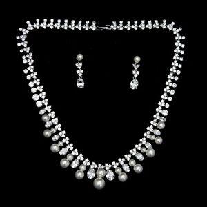 Wedding Bridal Zirconia Platinum Plated Simulated Diamond Necklace Earrings Set