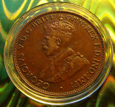 VF 1933 Australia half  Penny George V  6 Pearls Great Details, w holder includ