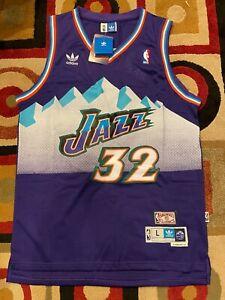 Karl Malone Throwback Hardwood Classics #32 Utah Jazz Mens Jersey Purple