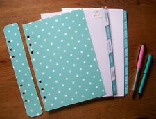 A5 A-Z Monthly DIVIDERS & Dashboard Set 'Light Teal & Mint Green' - Fits FILOFAX