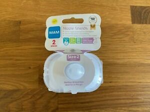 MAM NIPPLE SHIELDS 2 PACK For Sore Nipples Breastfeeding SIZE 2 - REGULAR - NEW