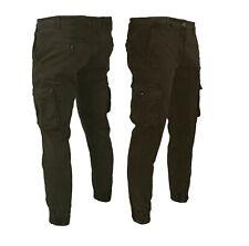 Pantaloni Uomo con Tasche Laterali Cargo jeans COTONE Tasconi Multitasche j638