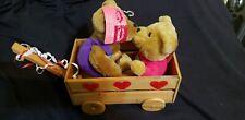 2 Hallmark Love And Kiss Bears With Cart Magnetic Plush Stuffed Animals New!