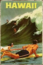 Hawaii Surfing Travel Advert Vintage Retro Style Metal Sign, beach, holiday