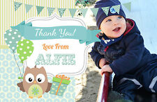 10 PERSONALISED BOYS THANK YOU - FLAT PHOTO CARD - Birthday, Christening, Party