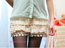 Japan Crochet Mesh Layer Mixed Lace Bloomer Slip Shorts! Almond