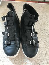Ash Virgin Black Leather Trainer High Top Size 40