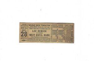 Vtg Ticket Music Box Theatre Lee Remick in Person Wait Until Dark New York City