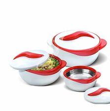 NEW Set of 3 Thermo Dish Hot or Cold Casserole Serving Bowls with Lids Red