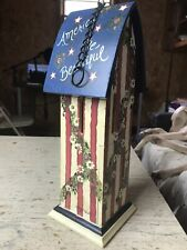 Kathy Hatch Bird House Red, White, Blue Hand Painted Original