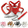 Spiked Dog Harness and Leash Collar Set Studded Leather Pit bull Harness M-XL
