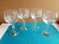 "Vtg Glas Von Marion 24% PbO Hand Etched ""Game Scenes"" Crystal Wine/Water Glass"