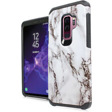 For Samsung Galaxy S9+ PLUS - White Marble Hybrid Rubber Protector Case Cover