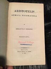 1861 Aristotle Nicomachean Ethics, Immanuele Bekkero, Berolini, Tertium Edita.