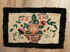 Antique Primitive Early Flowers Hooked Rug Large Flowers in Brown Basket 19 x 28