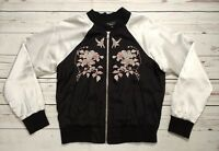 New Look Petite Swallow Embroidered Satin Oriental Bomber Jacket Size 6