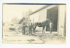 """Horse & Buggy Before I Traded Off"" RPPC Antique Stable Photo MN Estate 1910s"