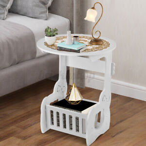 Round Small Side Table Beside Coffee Desk Lamp Stand with Magazine Storage Rack