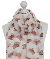 New Piglet Scarf Ladies White Baby Pig Oinker Farm Animal Muddy Puddle Pig Wrap