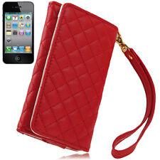Hülle f. iPhone SE 5S 5C Portmonee Portemonnaie Leder-Imitat Tasche Wallet Rot