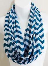 Teal White Infinity Scarf Chevron Zigzag Stripes Design Lightweight Fabric Loop