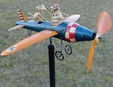 Vintage Style Airplane Whirligig Handcrafted Wind Spinner Yard Stake