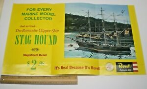 """1962 REVELL MODEL KIT """"  STAG HOUND CLIPPER SHIP """"  STORE SIGN DISPLAY POSTER"""