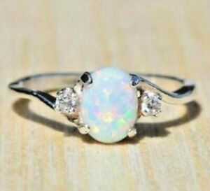Ring; Fire Cultured Opal 14K White Gold Filled w/ Zirconia Accent Sz 6.5 NEW