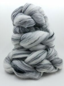 Merino Tencel Roving, 80/20, White/Black, Handspinning Felting, Undyed, Dyeable