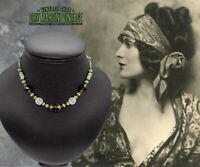 VINTAGE ART DECO BOHEMIAN CZECH GREEN FROSTED SATIN GLASS BEADS NECKLACE SIGNED