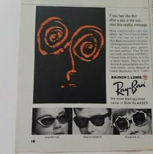 1966 Bausch & Lomb Ray-Ban women's men's sunglasses vintage ad