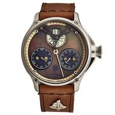 L. Kendall Men's K6 Brown indicador de madrepérola Pulseira De Couro Marrom Relógio Automático K6-002A