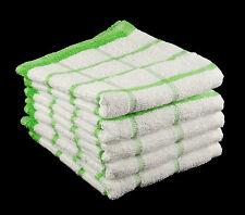 Pack of 10 LIME GREEN and WHITE 100% Cotton Kitchen Tea Towels Size 33cm x 58cm