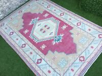 6'4''x9' Vintage Large Turkish Rug,Antique Ushak Rug,Fusia Oushak Nursery Rug