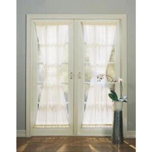 "Style Selections Door Panel 72""  Eggshell Rod Pocket Sheer Set of 2"