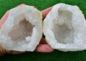 Quartz Geodes 15-18cm Natural White Whole-Matching-Pair Moroccan Quartz Healing✔