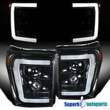 For 2011-2016 Ford F250 F350 F450 LED DRL Polished Black Projector Headlights