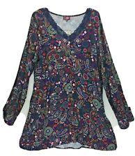 COLINE NAVY PAISLEY SHORT DRESS/TUNIC LONG SLEEVED V NECK LACE TRIM S,XL, 2X, 3X