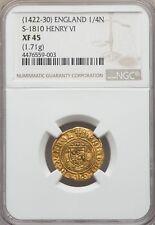 GOLD Enrico VI 1422-1430 1/4 quarto Nobile Inghilterra S-1810 NGC XF45 Anello UK